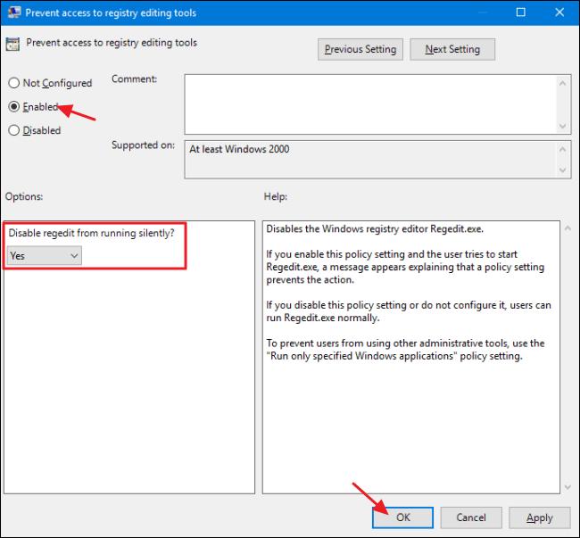 Block access to Registry Editor on Windows 10/8/7